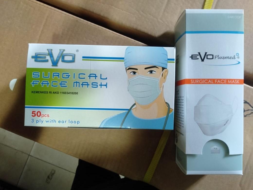 Masker Merk EVO PLUSMED - Surgical Face Mask 3 Ply