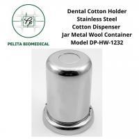 Dental Cotton Holder Stainless Steel Cotton Dispenser Jar Metal Wool Container Model DP-HW-1232