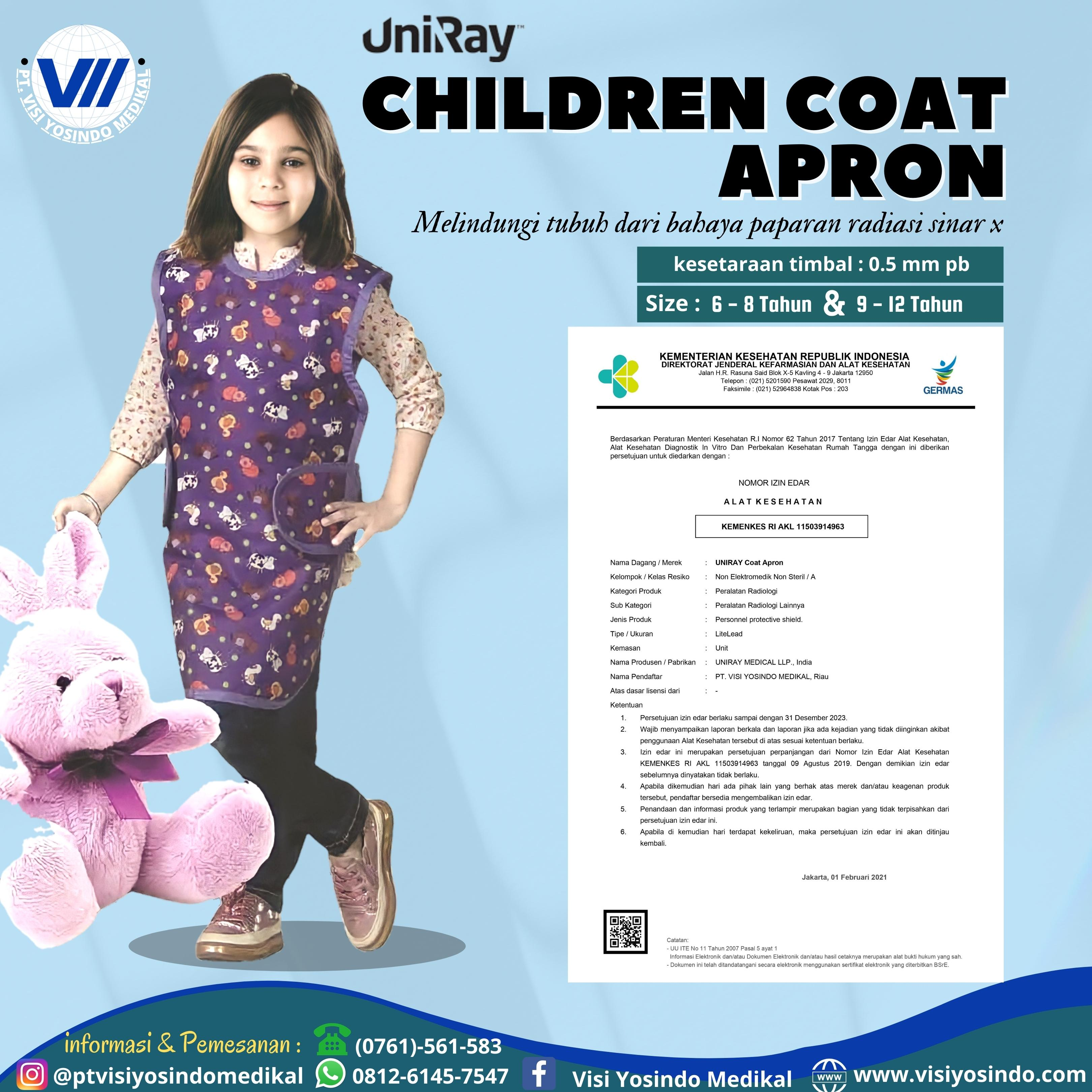 Children Coat Apron (Age. 6-8 Tahun)