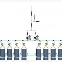 Sentral MANUAL MANIFOLD Oksigen (O2)  kapasitas 2 x 2 tabung