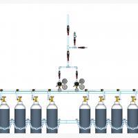 Sentral MANUAL MANIFOLD Oksigen (O2)  kapasitas 2 x 3 tabung
