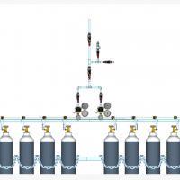 Sentral MANUAL MANIFOLD Oksigen (O2)  kapasitas 2 x 5 tabung